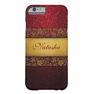 Vintage Red Damask Gold Banner Personalized Barely There iPhone 6 Case