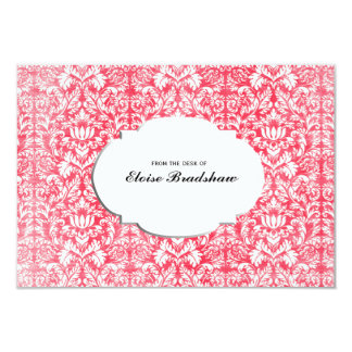 Vintage Red Damask Personalized Card
