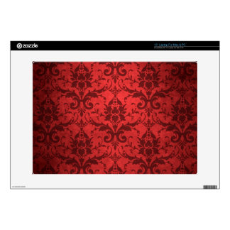 Vintage Red Damask Wallpaper Laptop Decals