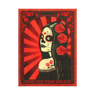 Vintage Red Day of the Dead Girl Stretched Canvas Print