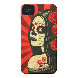 Vintage Red Day of the Dead Girl iPhone 4 Covers