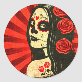 Vintage Red Day of the Dead Girl Classic Round Sticker