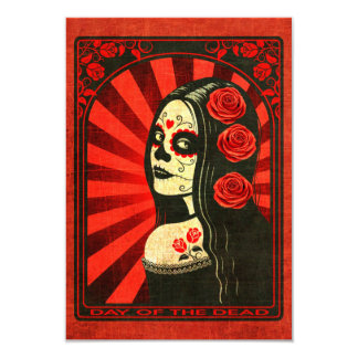 Vintage Red Day of the Dead Girl 3.5x5 Paper Invitation Card