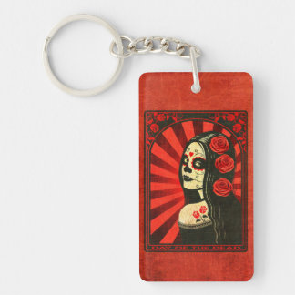 Vintage Red Day of the Dead Girl Rectangular Acrylic Key Chains