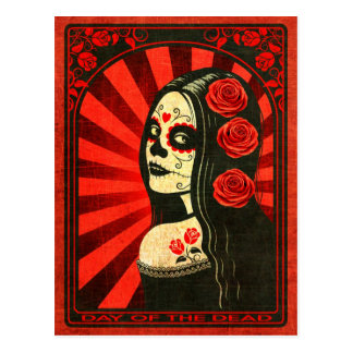 Vintage Red Day of the Dead Girl Postcard