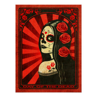 Vintage Red Day of the Dead Girl Print