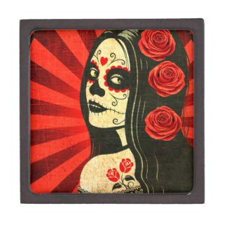 Vintage Red Day of the Dead Girl Premium Gift Box