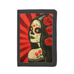 Vintage Red Day of the Dead Girl Tri-fold Wallets