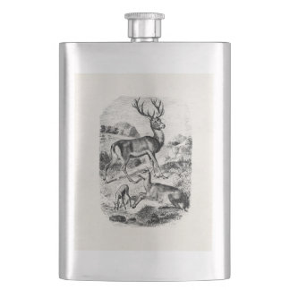 Vintage Red Deer Stag w/ Doe and Fawn Personalized Hip Flask