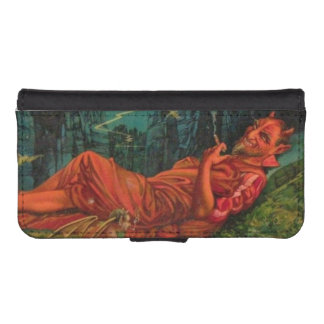Vintage Red Devil Smoking Cigar Demon Imp Satan iPhone 5 Wallets