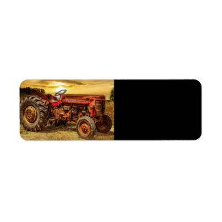 Vintage Red Farm Tractor Label