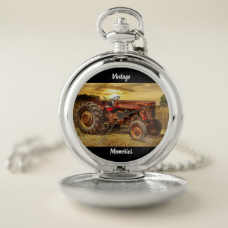 Vintage Red Farm Tractor Pocket Watch
