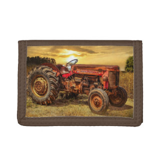 Vintage Red Farm Tractor Trifold Wallet