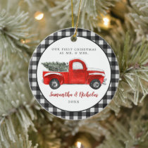 Vintage Red Farm Truck | First Christmas Mr & Mrs Ceramic Ornament