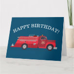Vintage Red Fire Truck Happy Birthday Card