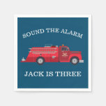 Vintage Red Fire Truck Party Napkin