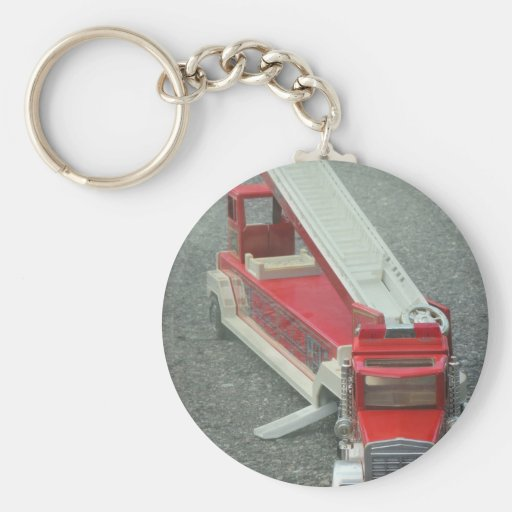 Vintage red fire truck toy keychain