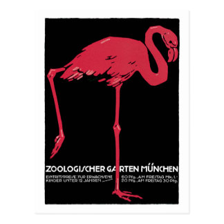 Vintage Red flamingo Munich Zoo travel ad Postcard