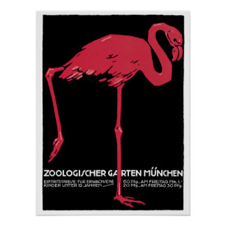 Vintage Red flamingo Munich Zoo travel ad Posters
