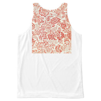 Vintage Red Floral Block Print All-Over Print Tank Top