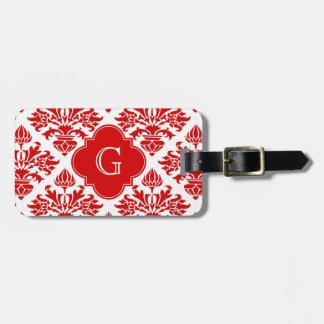 Vintage Red Floral Damask #3 with Monogram LG Bag Tag