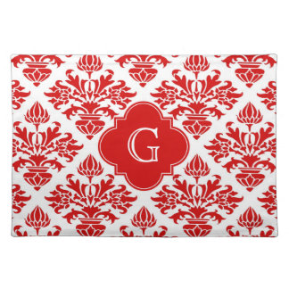 Vintage Red Floral Damask #3 with Monogram LG Cloth Placemat