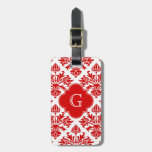 Vintage Red Floral Damask #3 with Monogram LG Luggage Tags