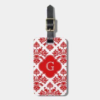 Vintage Red Floral Damask #3 with Monogram LG Bag Tags