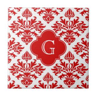 Vintage Red Floral Damask #3 with Monogram LG Ceramic Tile