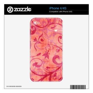 Vintage Red Floral Design iPhone 4S Decals