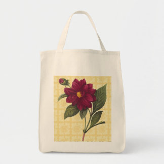 Vintage Red Floral Reusable Tote Bag