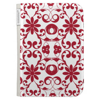 Vintage red floral shabby and chic pattern kindle keyboard cases