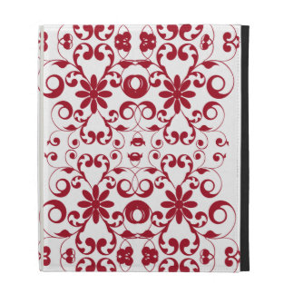 Vintage red floral shabby and chic pattern iPad cases