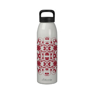 Vintage red floral shabby and chic pattern drinking bottle