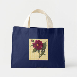 Vintage Red Floral Small Navy Blue Mini Tote Bag