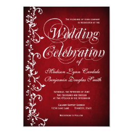 Vintage Red Floral Swirls Wedding Invitations