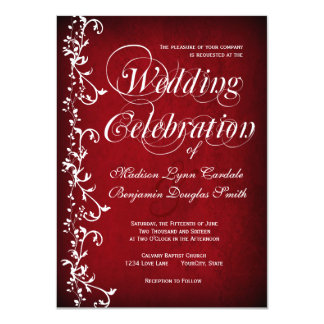 Vintage Red Floral Swirls Wedding Invitations