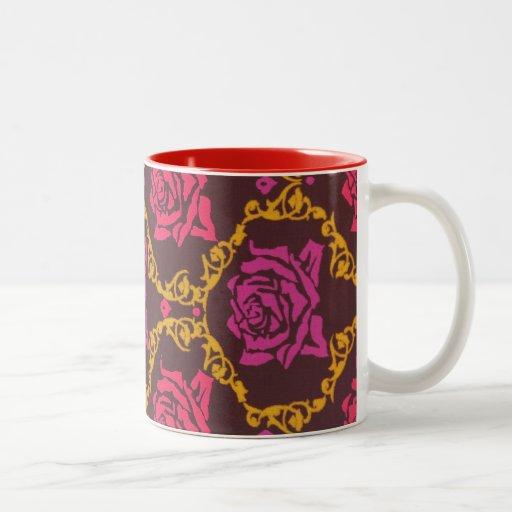 Vintage Red Floral Two-Tone Coffee Mug