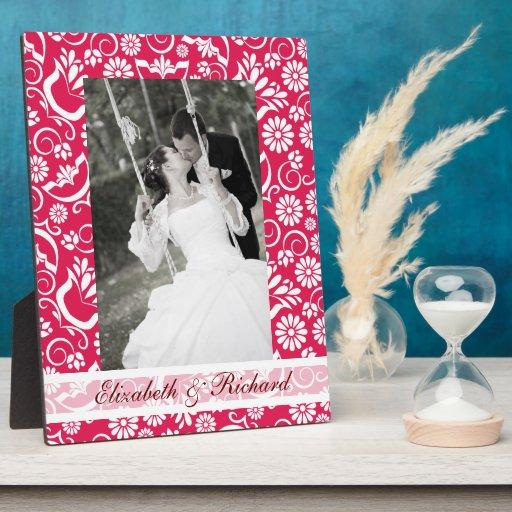 Vintage red floral Wedding Photo Plaque