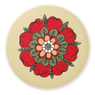 Vintage Red Flower Ceramic Knob