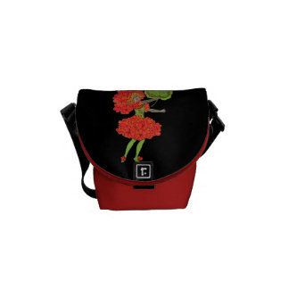 Vintage Red Flower Fairy Graphic Courier Bag