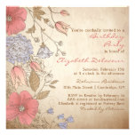 Vintage Red Flowers Bridal Shower Invitation