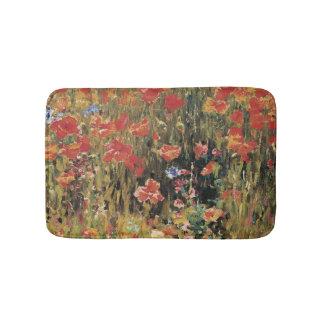 Vintage Red Flowers, Poppies by Robert Vonnoh Bathroom Mat