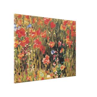Vintage Red Flowers, Poppies by Robert Vonnoh Canvas Print