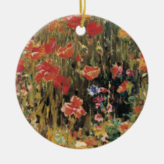 Vintage Red Flowers, Poppies by Robert Vonnoh Ceramic Ornament