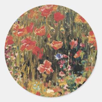 Vintage Red Flowers, Poppies by Robert Vonnoh Classic Round Sticker