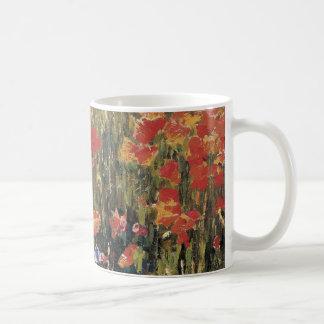 Vintage Red Flowers, Poppies by Robert Vonnoh Coffee Mug