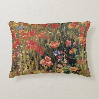 Vintage Red Flowers, Poppies by Robert Vonnoh Decorative Pillow