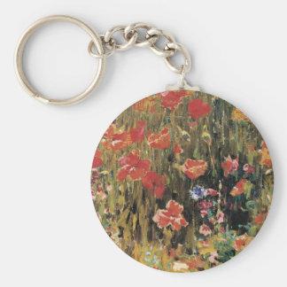 Vintage Red Flowers, Poppies by Robert Vonnoh Keychain
