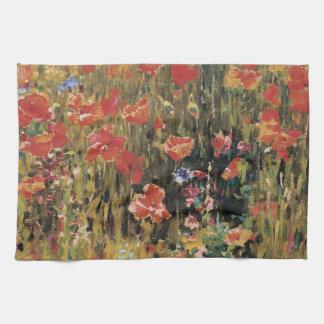 Vintage Red Flowers, Poppies by Robert Vonnoh Kitchen Towel